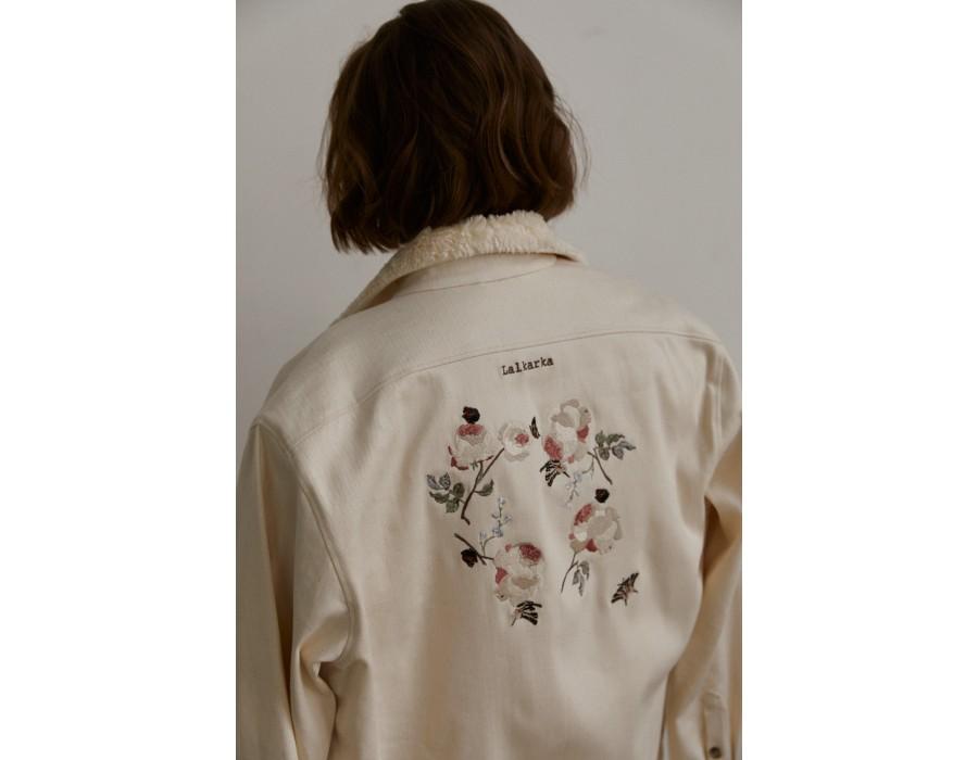 Embroidered white denim shirt
