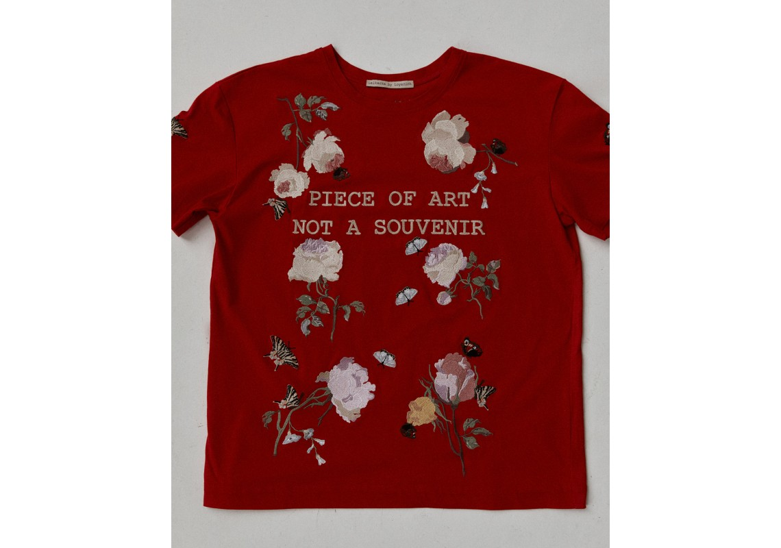Embroidered oversized red t-shirt Piece of art not a souvenir