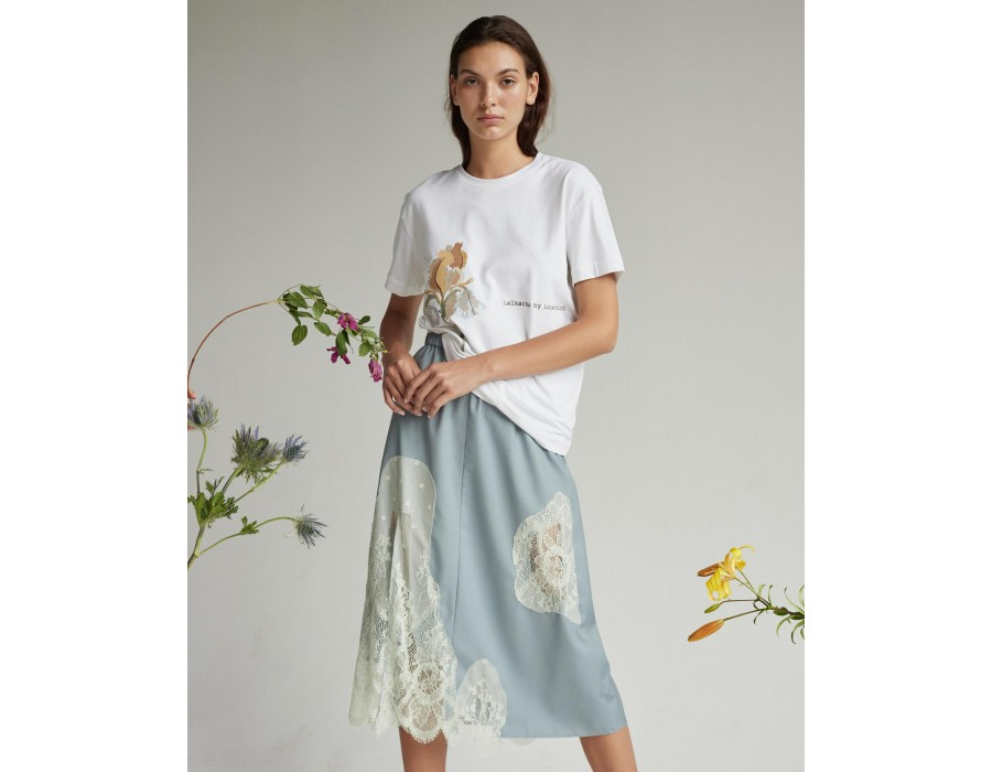 Dusty blue high-waist woolen midi skirt with lace and side slit and elastic waistband