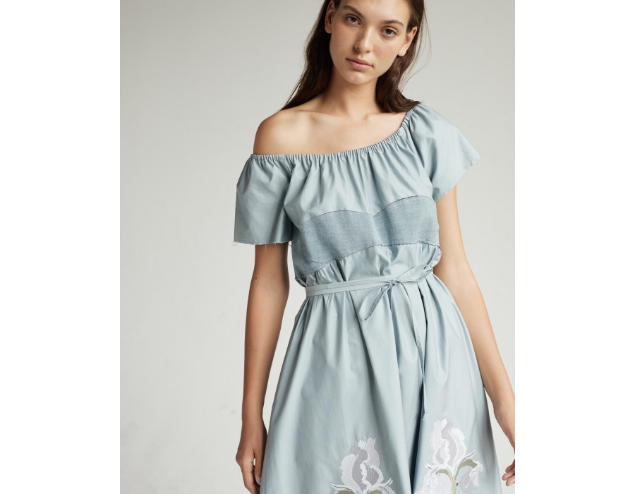 Embroidered cotton dress with elastic neck