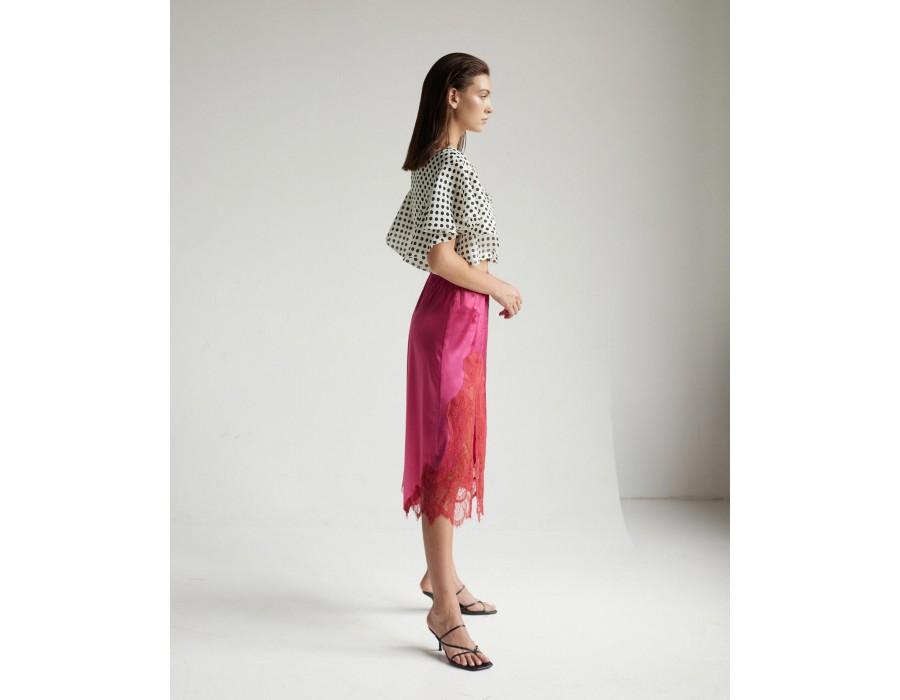 High-waist silk midi skirt with lace side slit and elastic waistband