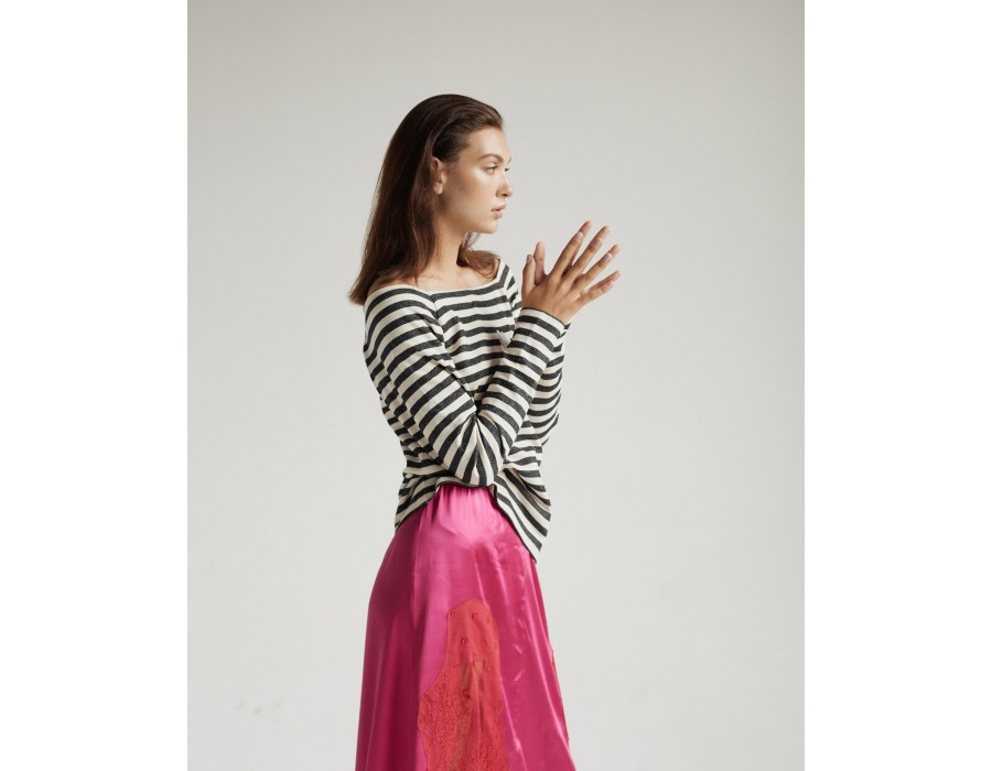 High-waist silk midi skirt with lace side slit and elastic waistband