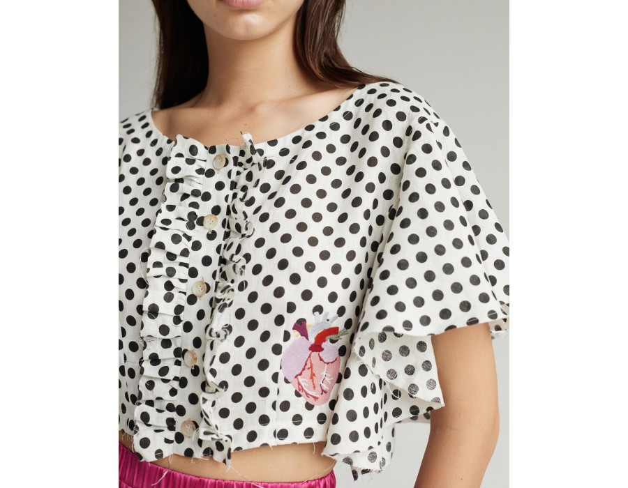 Embroidered linen cropped shirt with button-up front