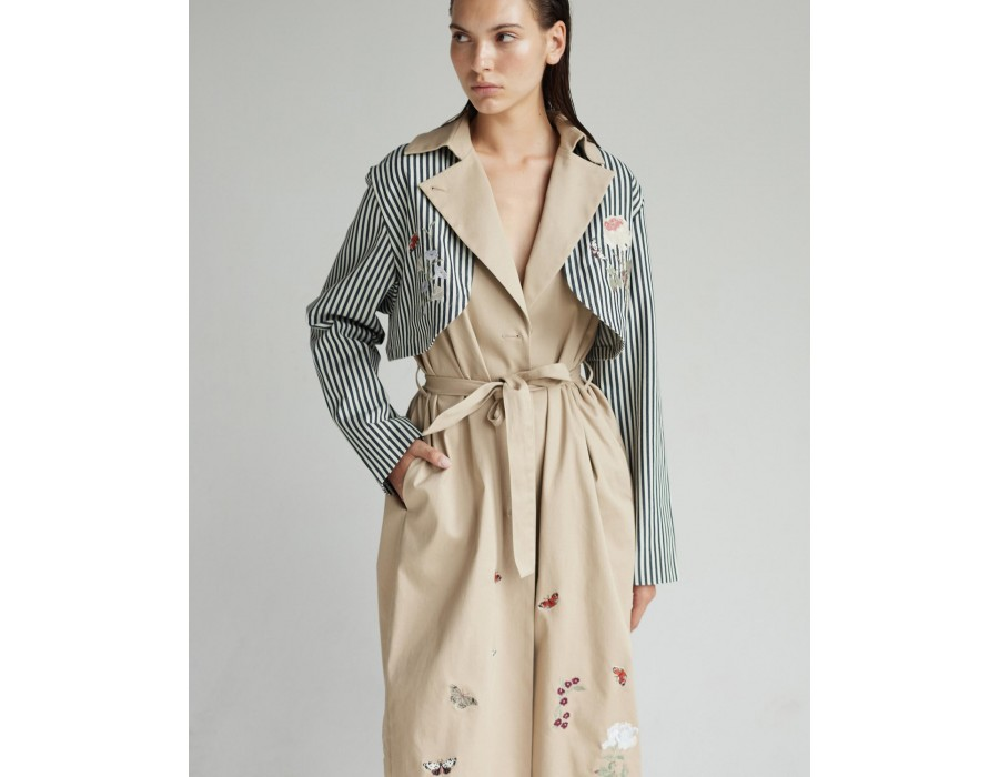 Embroidered cotton trenchcoat