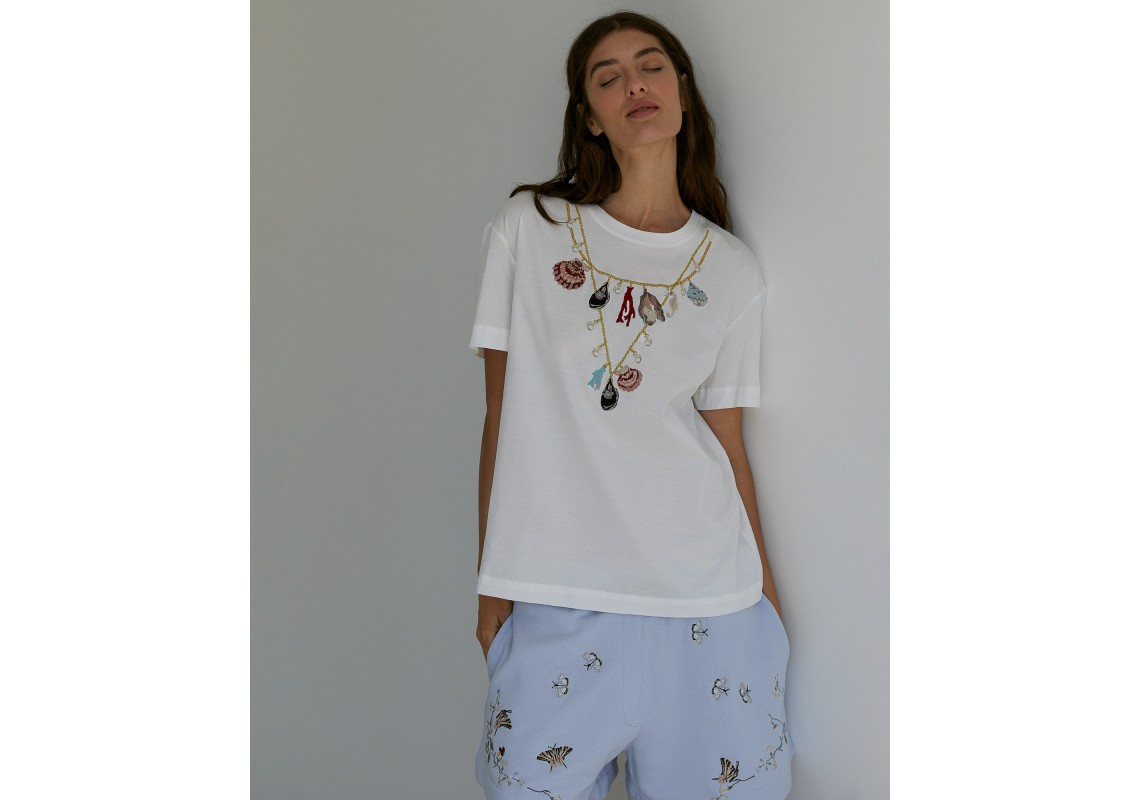 Embroidered white oversized t-shirt Sea shells