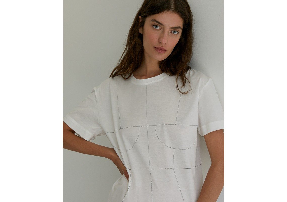 White oversized t-shirt with embroidered details