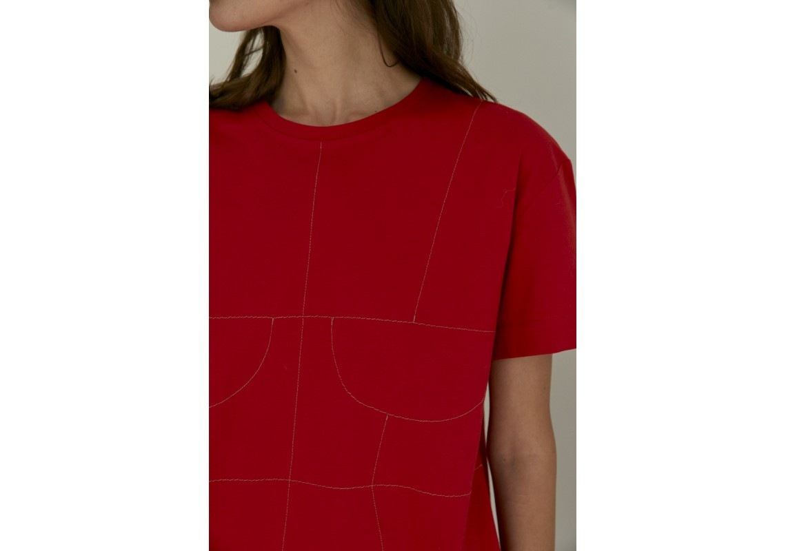 Red oversized t-shirt with embroidered details