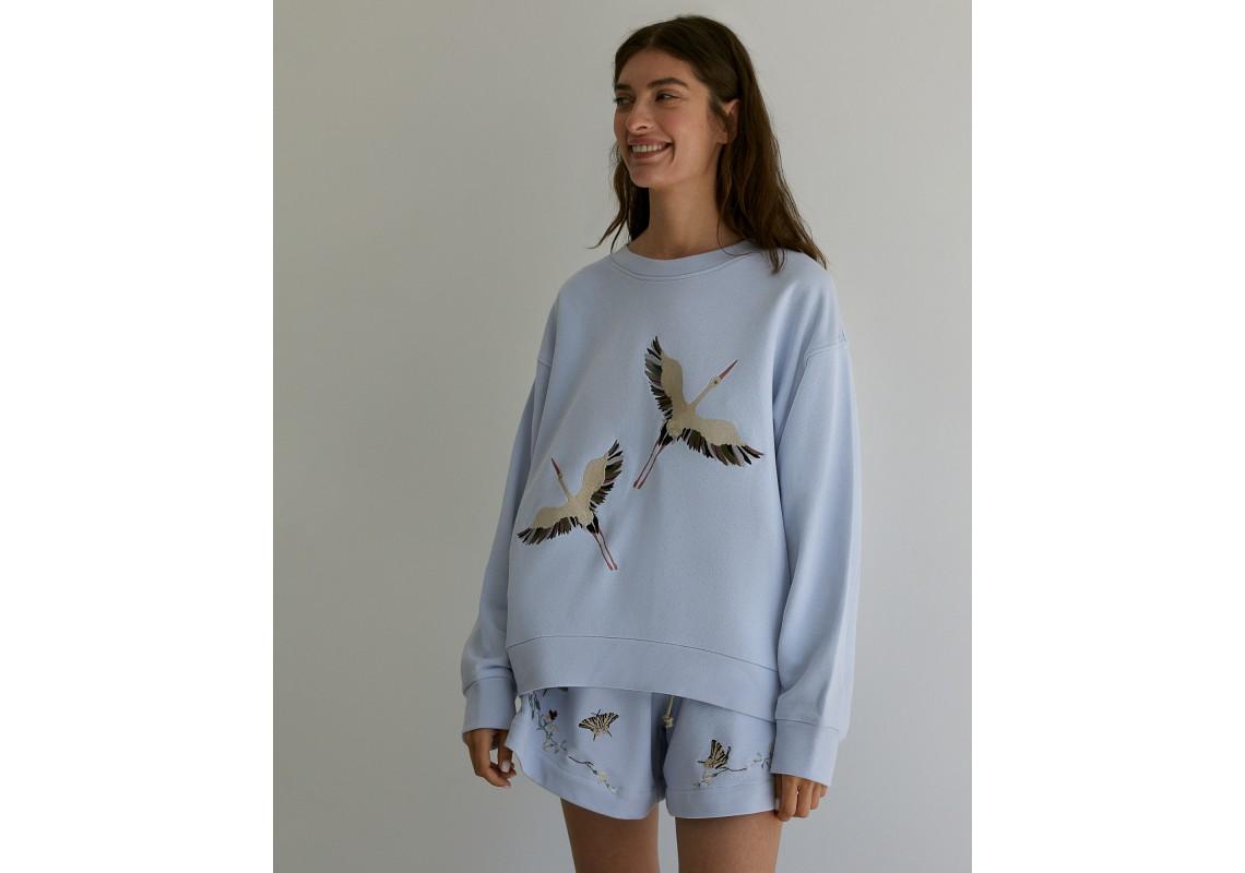 Embroidered Blue oversized sweatshirt Storks