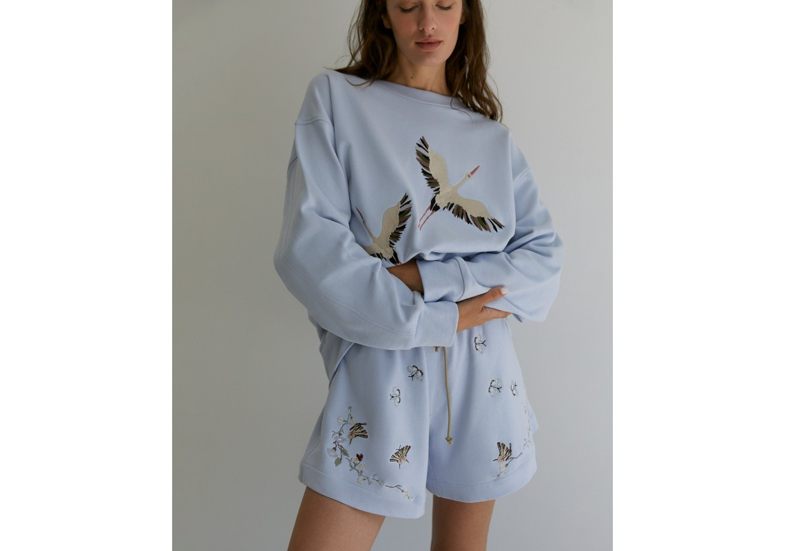 Embroidered dusty blue shorts