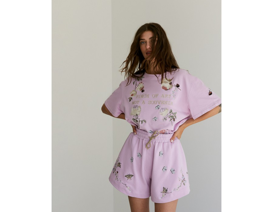 Embroidered lavender shorts
