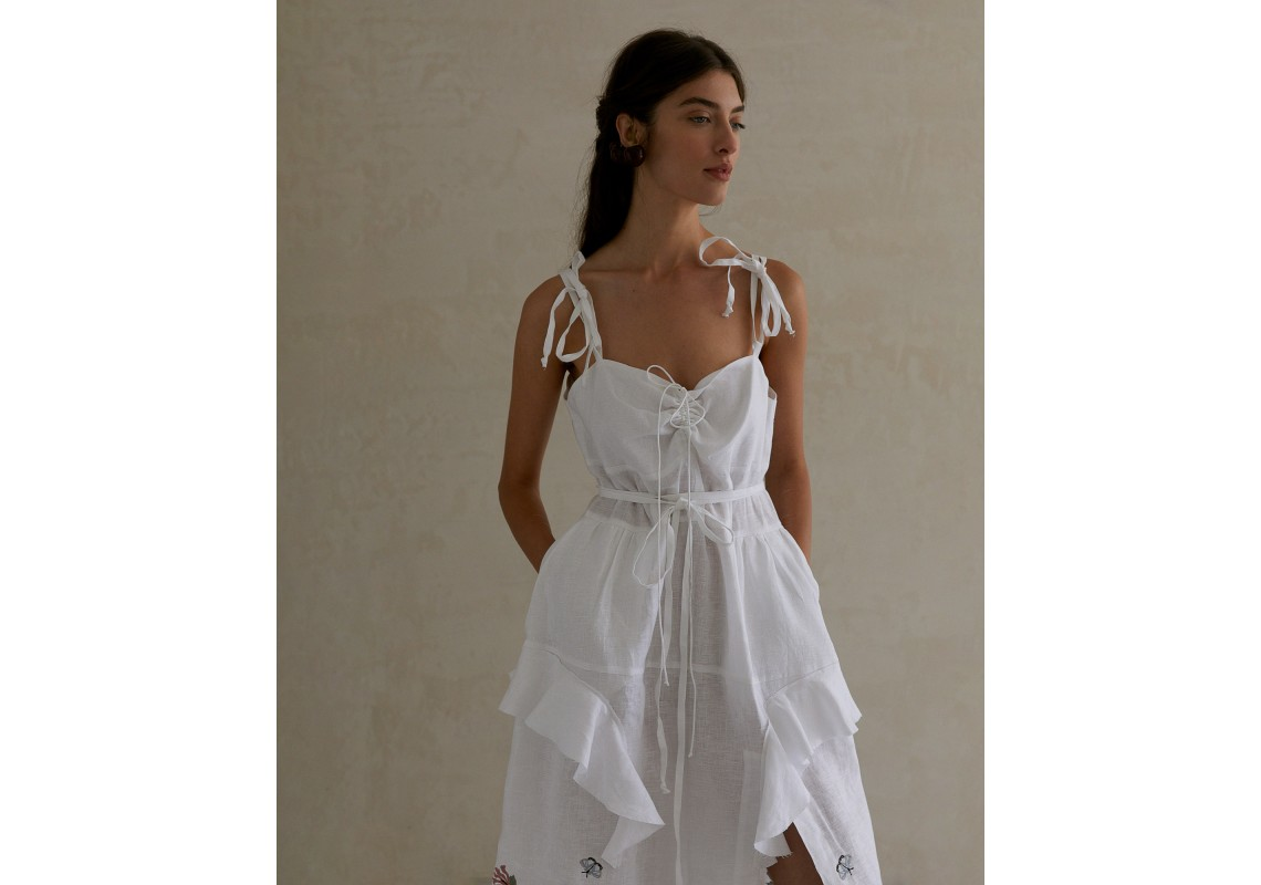 White linen embroidered dress with straps