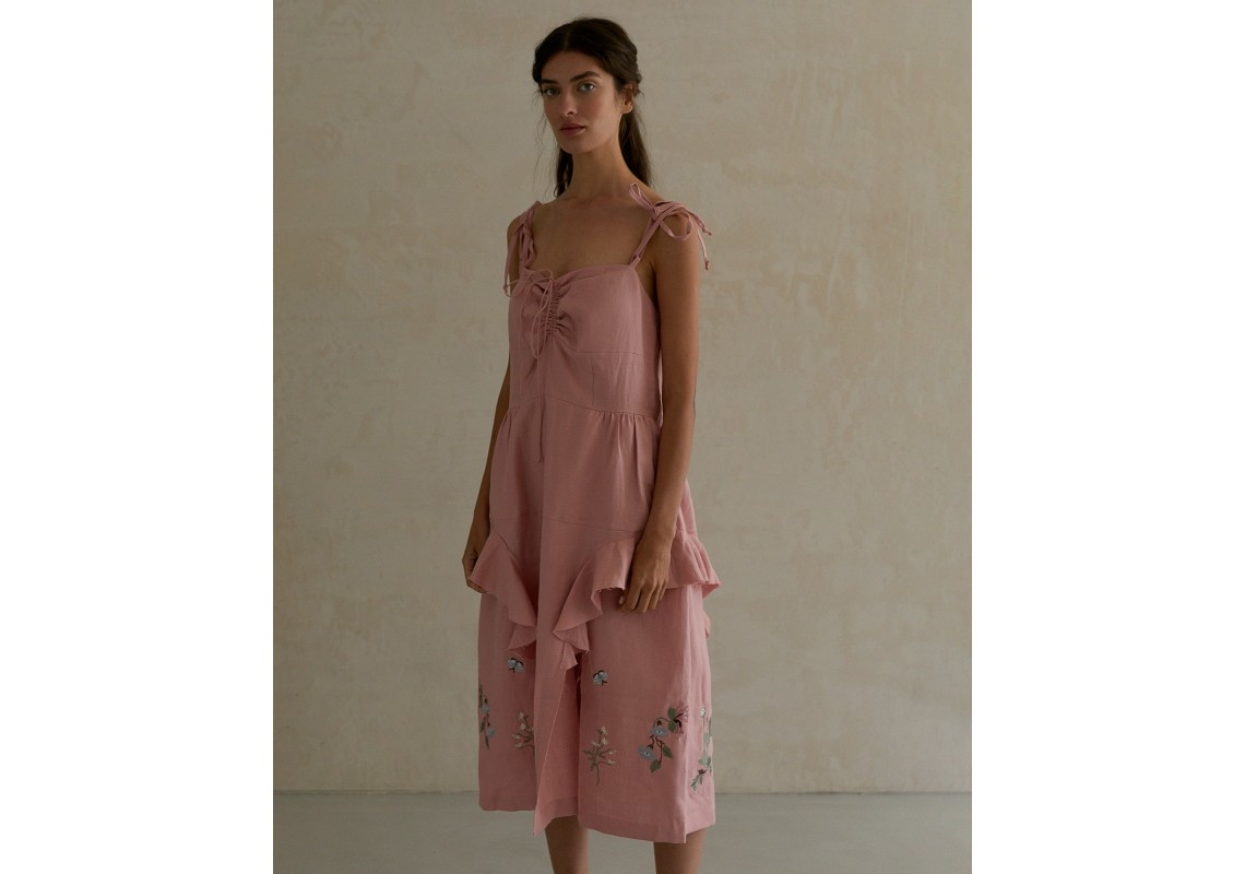 Pink linen embroidered dress with straps