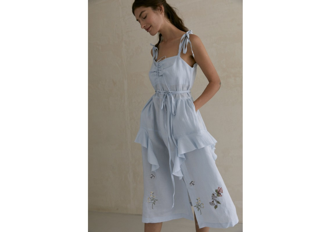 Dusty blue linen embroidered dress with straps