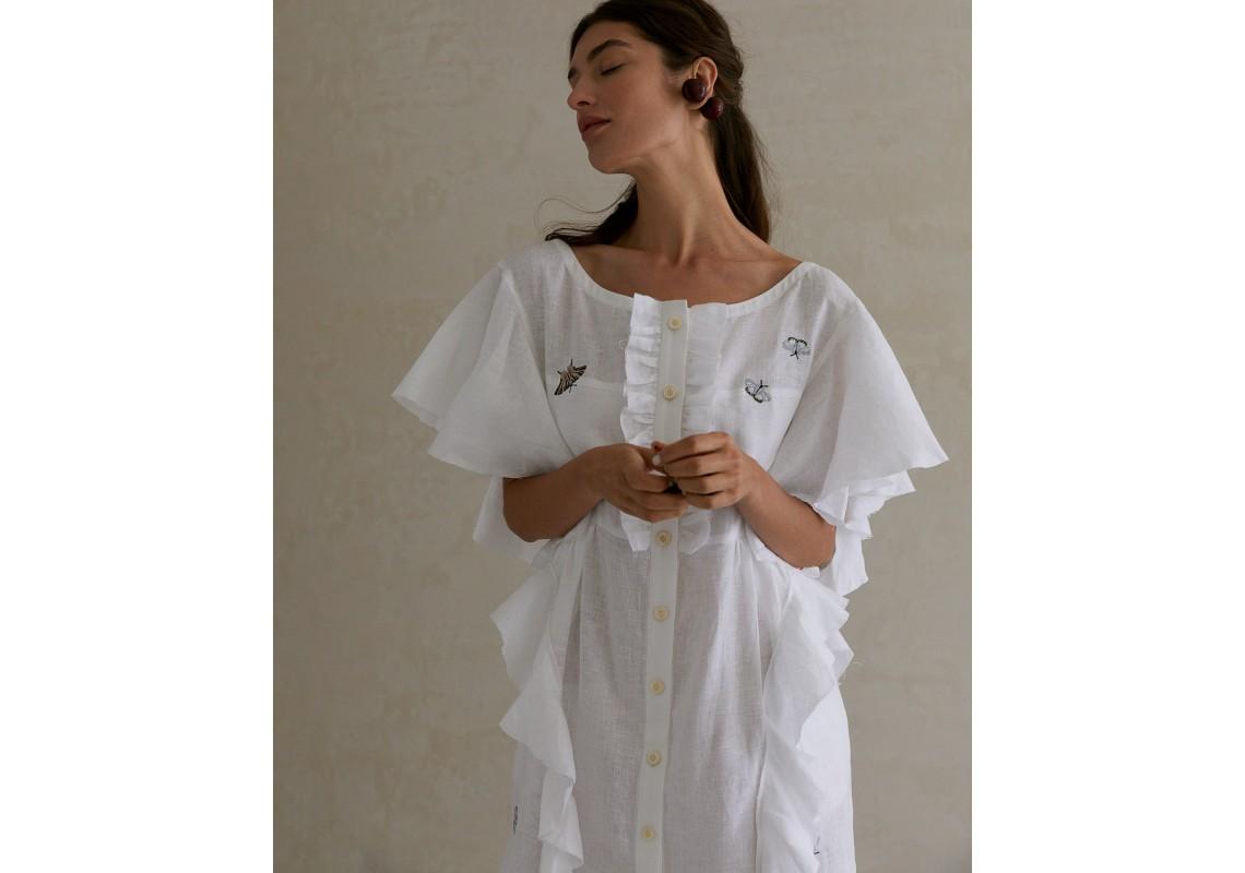 Embroidered linen ruffled dress
