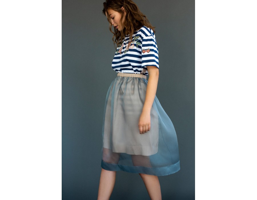 Light blue silk skirt
