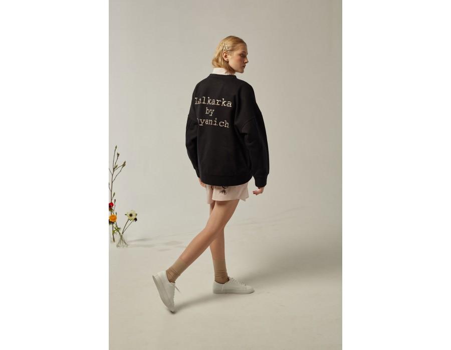 Black sweatshirt lalkarka botanique(Out Of Stock)