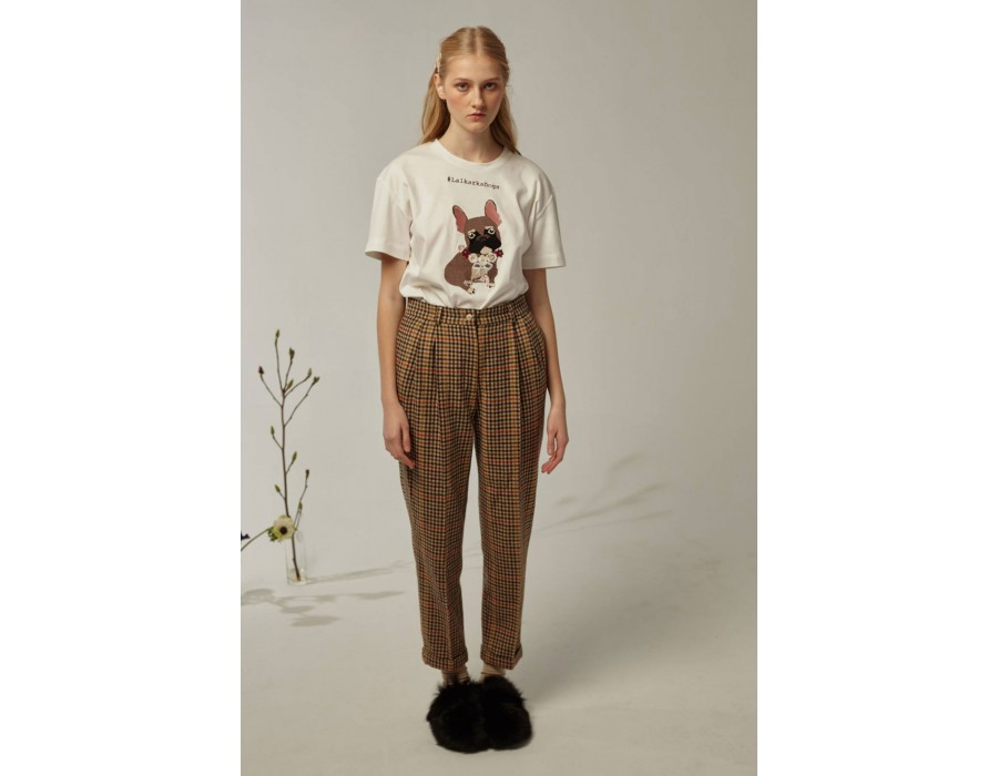 Chequered high-waist trousers