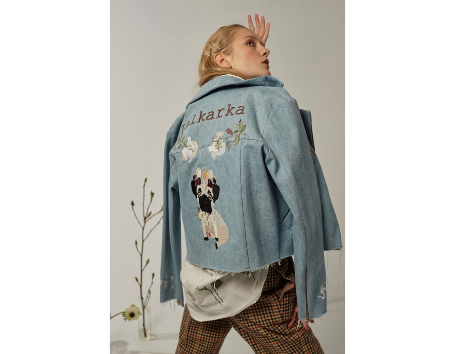 Denim biker jacket lalkarka dogs