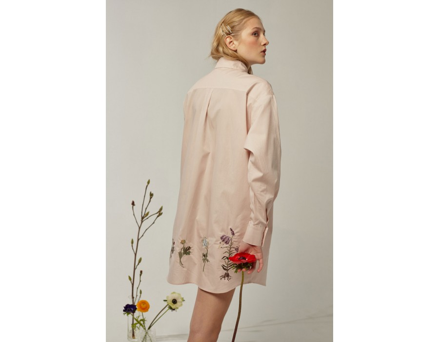 Embroidered dusty pink shirt lalkarka botanique(Out Of Stock)