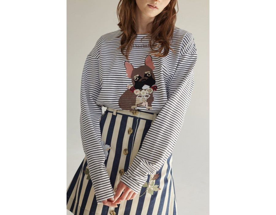 Embroidered striped sweatshirt llalkarka dogs french bulldog(Out Of Stock)