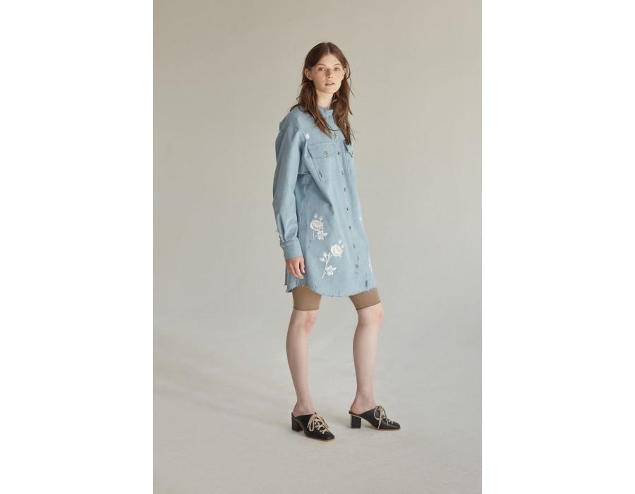 Embroidered blue denim t-shirt