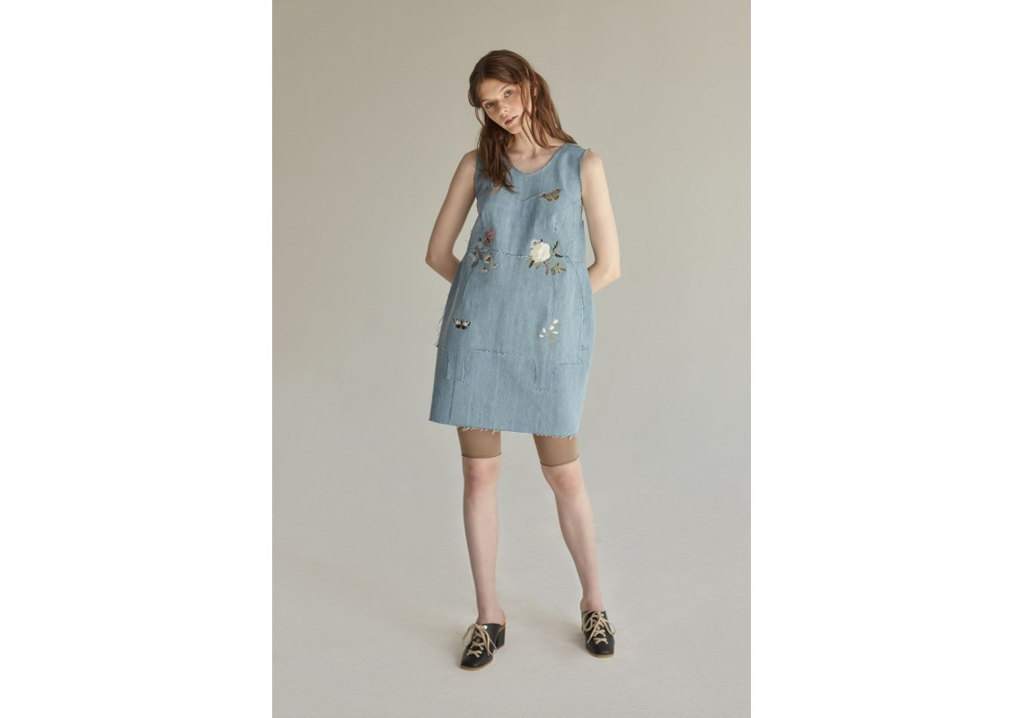 Embroidered little denim dress(Out Of Stock)