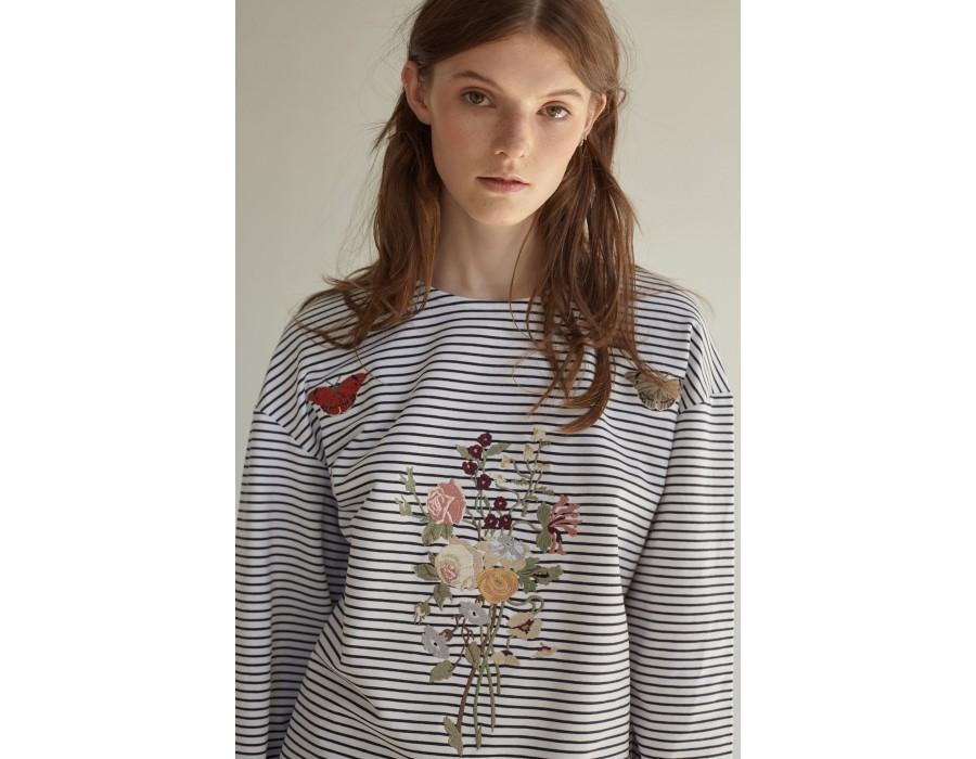 Embroidered striped sweatshirt enchanted garden