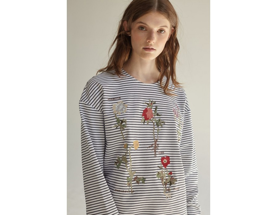 Embroidered striped sweatshirt lalkarka botanique