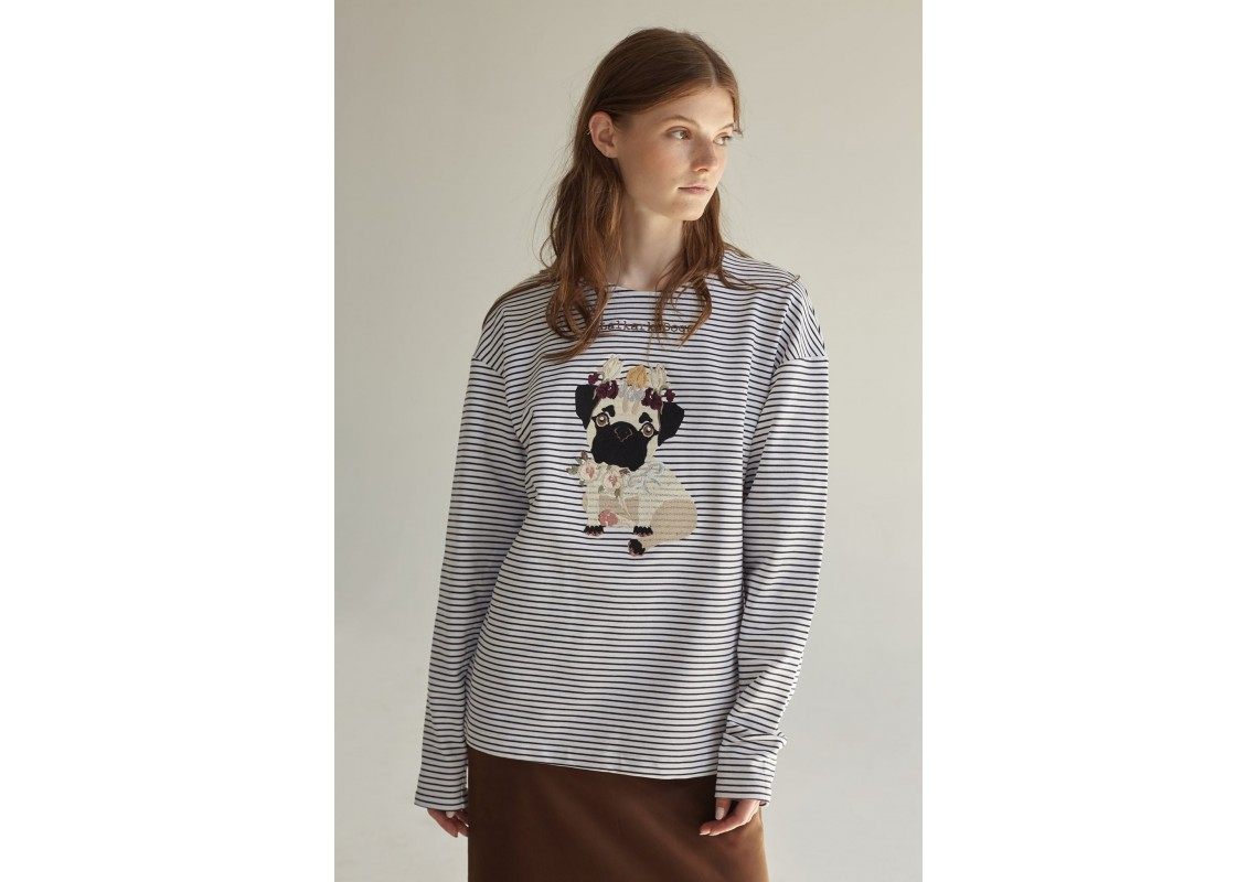 Embroidered striped sweatshirt llalkarka dogs pug(Out Of Stock)