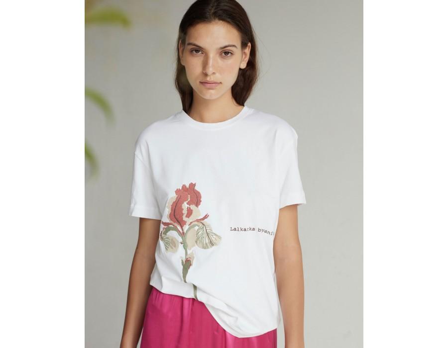 White embroidered t-shirt IRIS