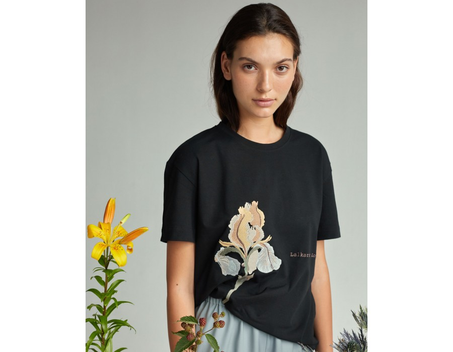 Black embroidered t-shirt IRIS