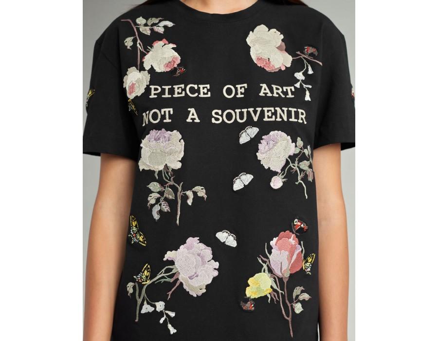 Black embroidered t-shirt piece of art not a souvenir