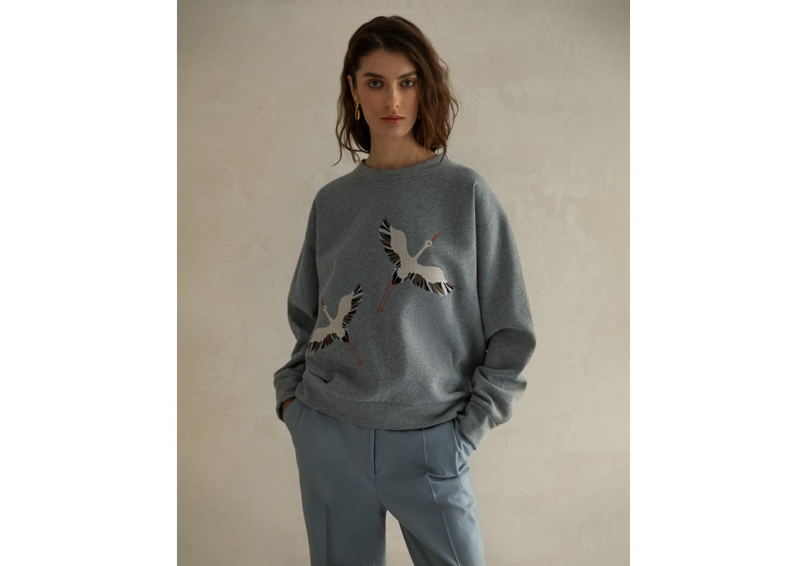 Gray embroidered sweatshirt storks (Out Of Stock)