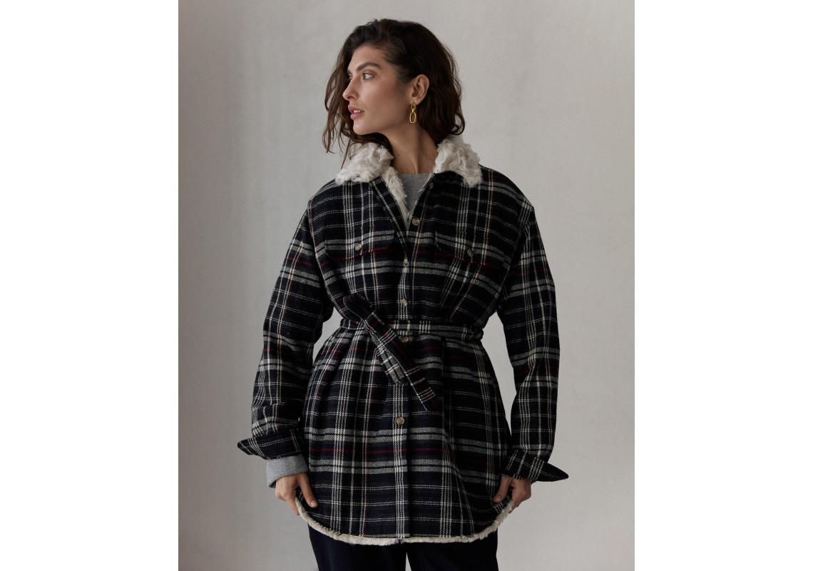 Collared overshirt lined with Hemp Fur