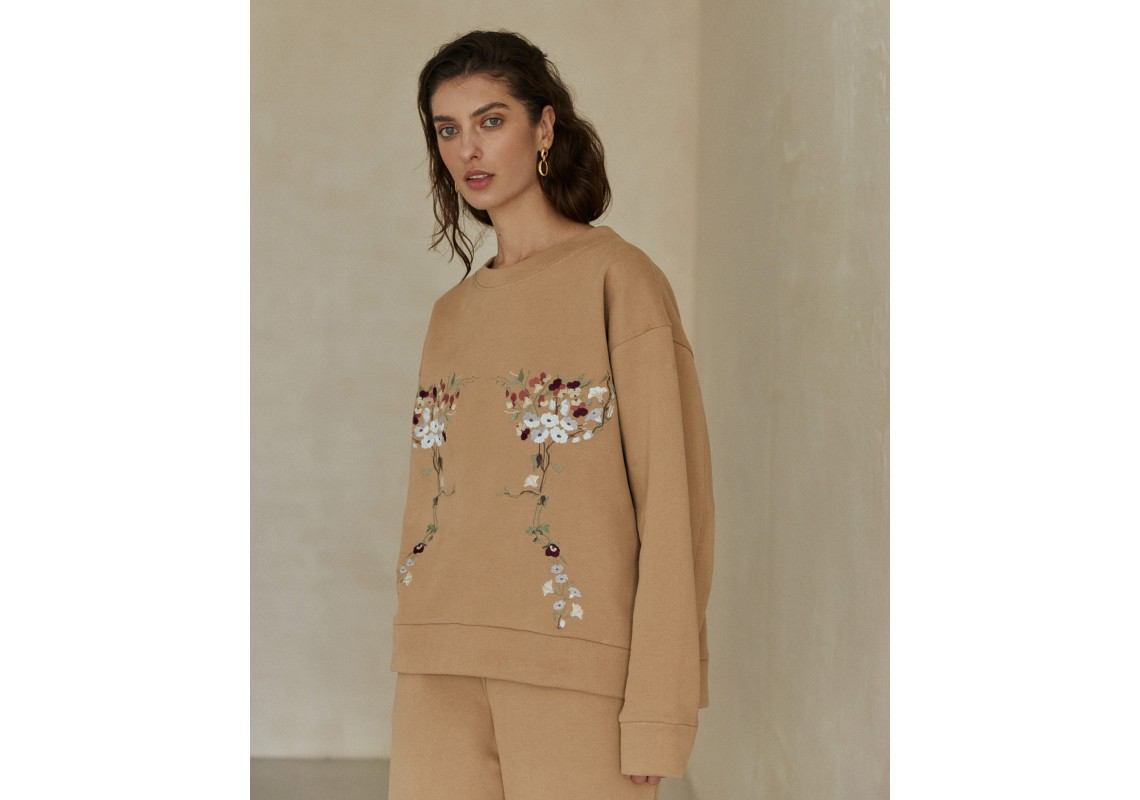 Embroidered sweatshirt garden violets