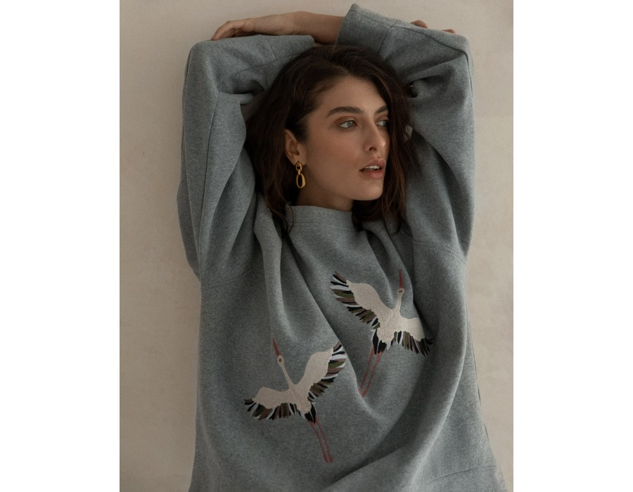 Gray embroidered sweatshirt storks