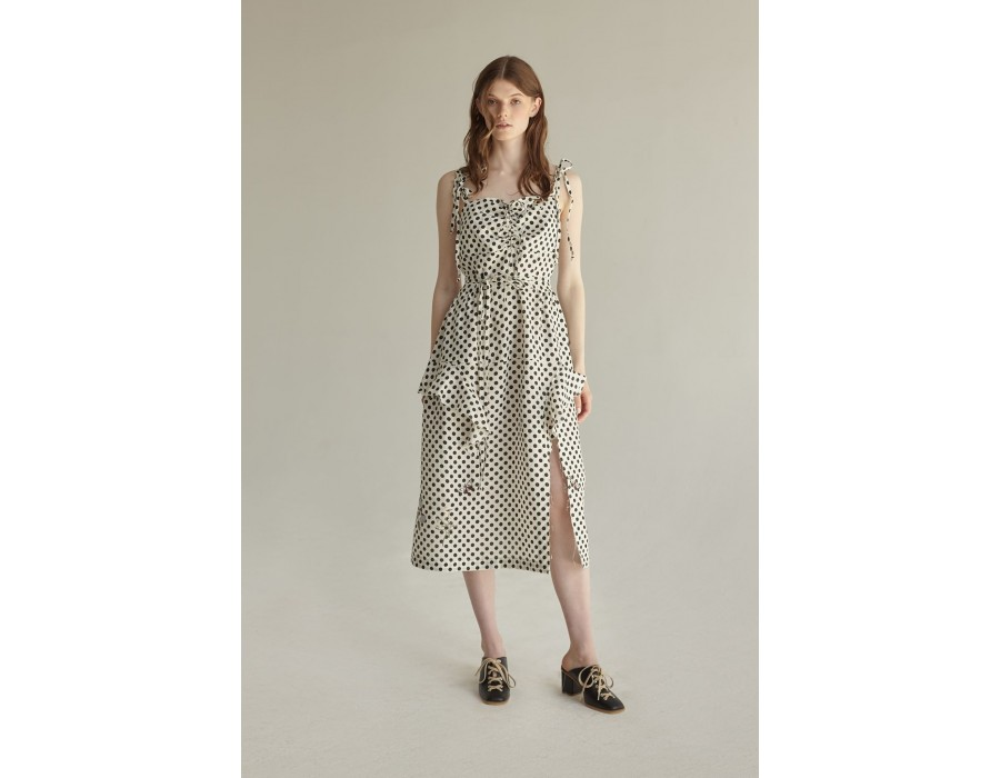 Linen polka dot embroidered dress (Out of stock)