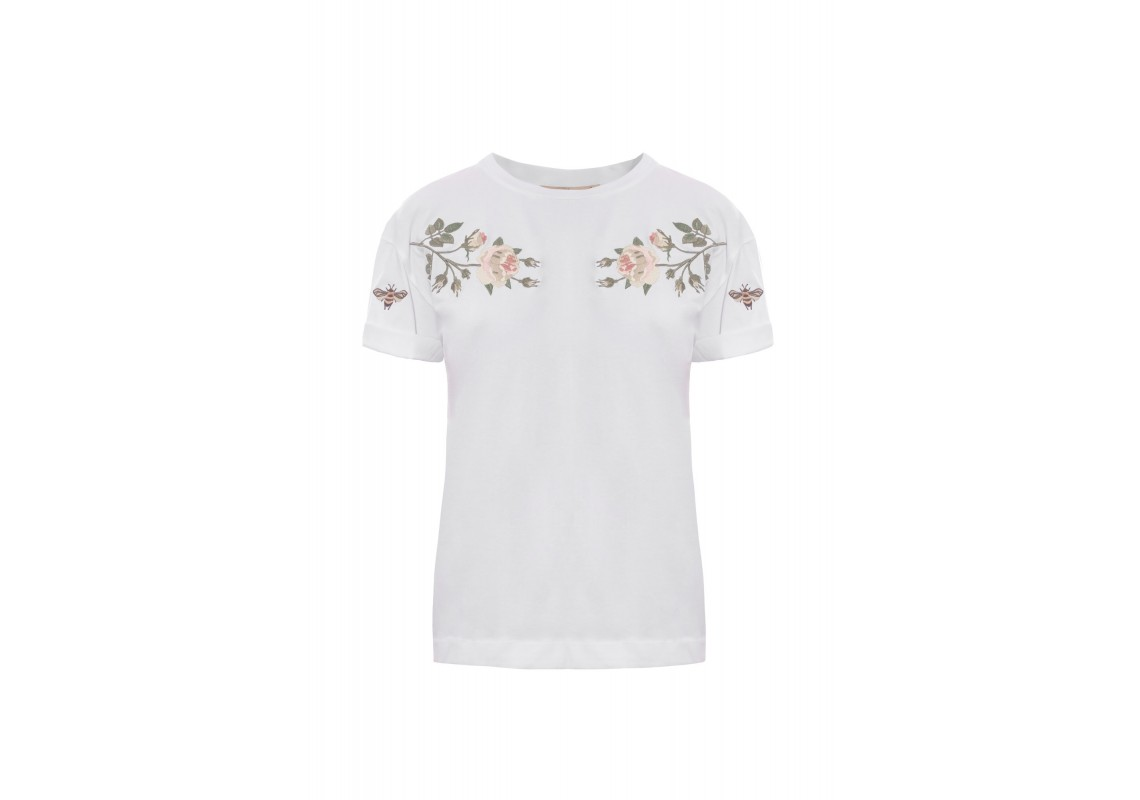 Embroidered Basic white t-shirt