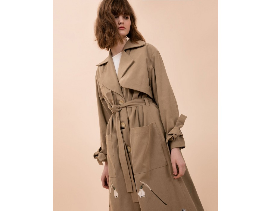Embroidered Cotton Trench Coat