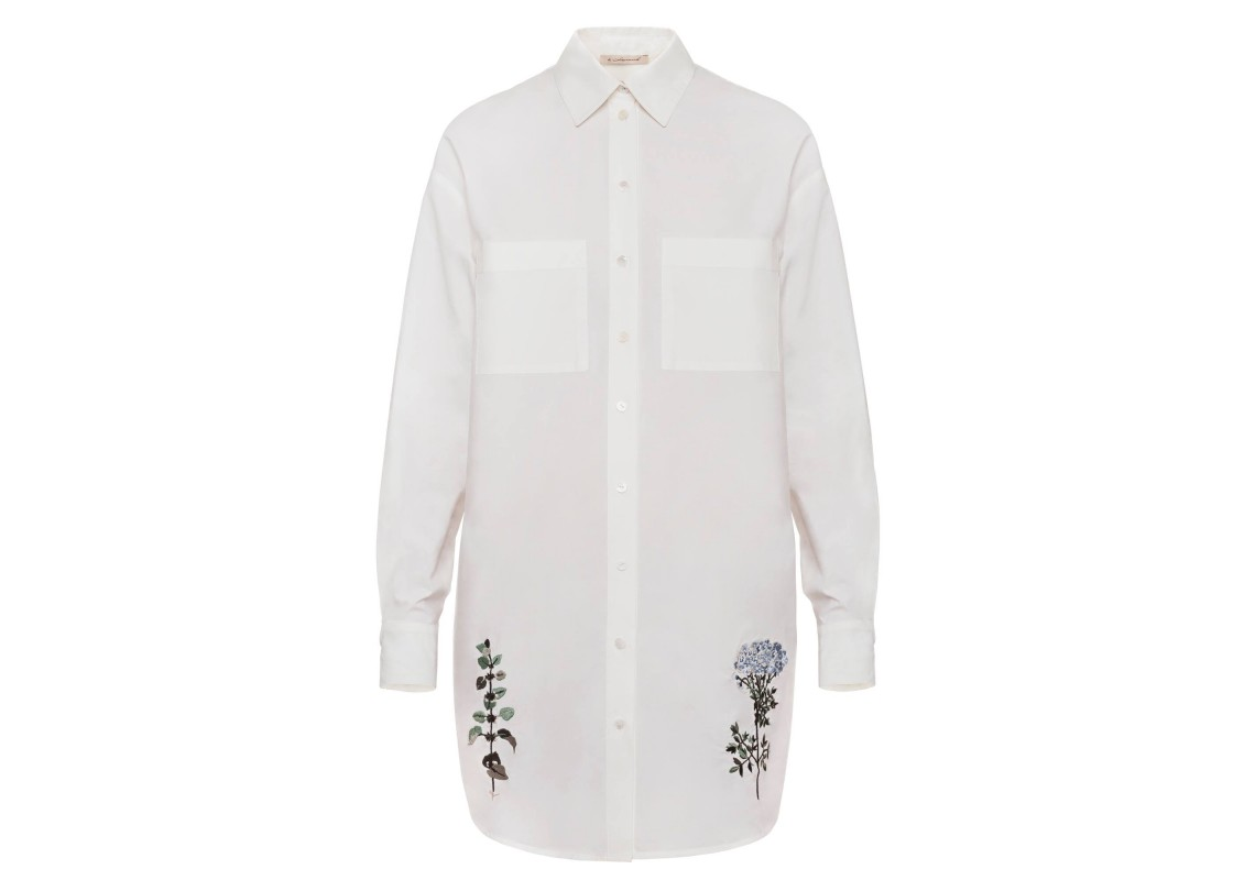 Embroidered Cotton White Shirt