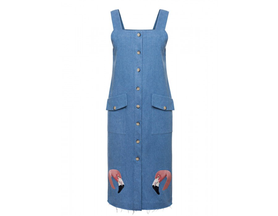 Embroidered Denim Dress(Out Of Stock)
