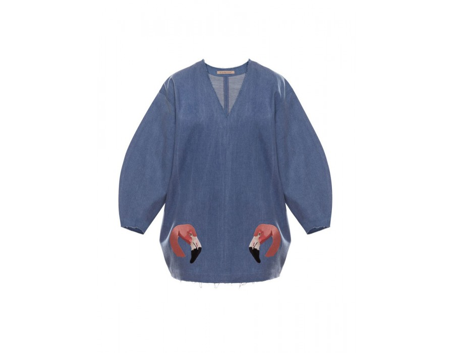 Embroidered Denim Sweatshirt (Out Of Stock)