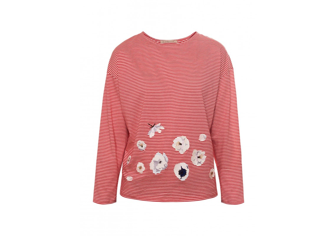 Embroidered Red Striped Sweatshirt (Out Of Stock)