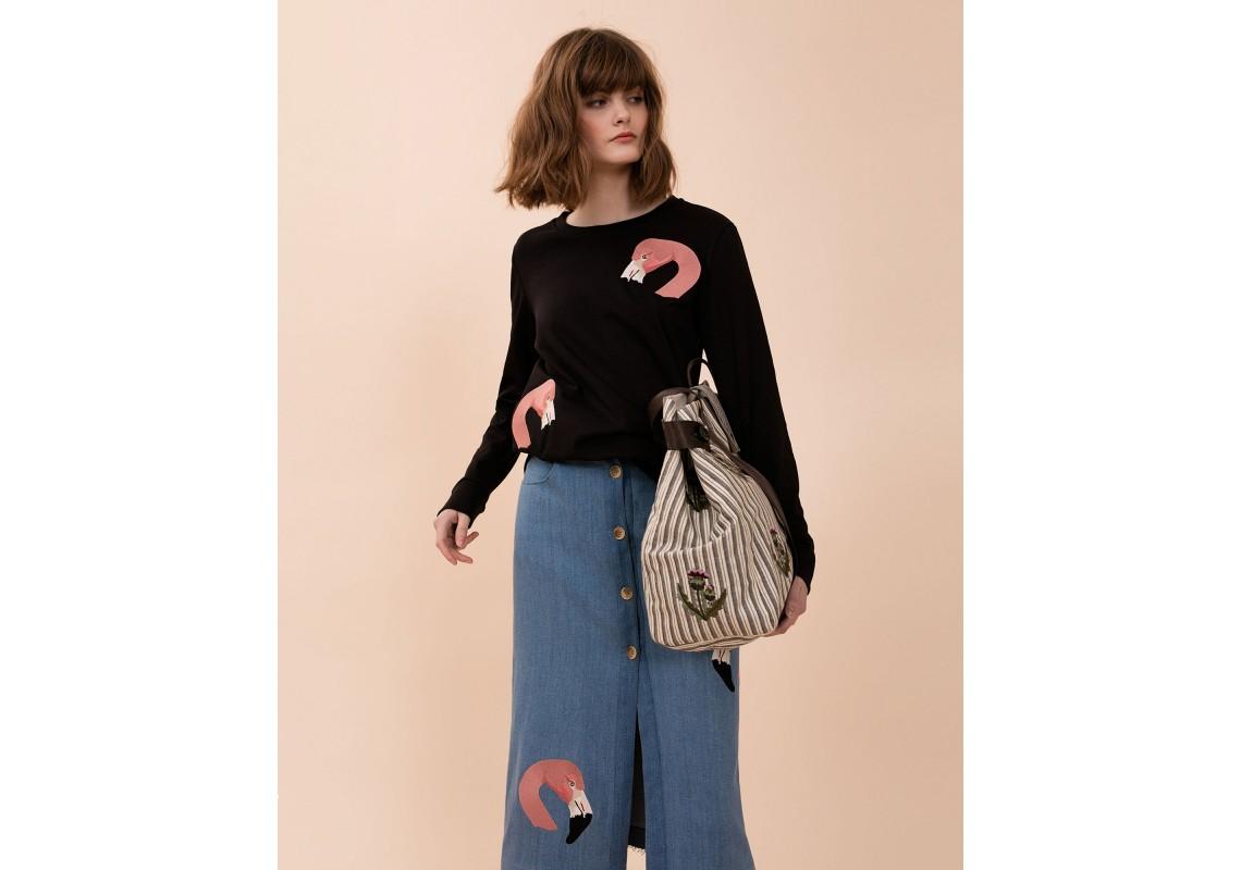 Embroidered Sweatshirt Black Flamingo