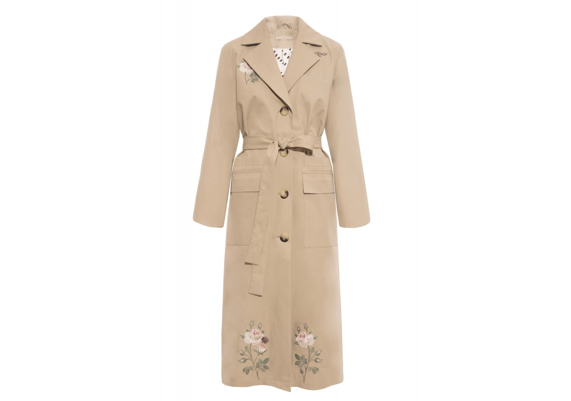 Embroidered beige trenchcoat