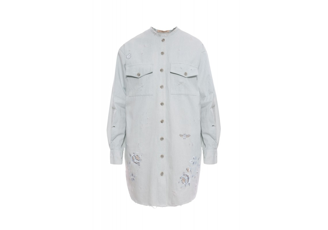 Embroidered light blue denim shirt  (Out Of Stock)