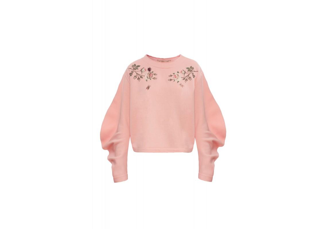 Embroidered oversize sweatshirt (salmon)