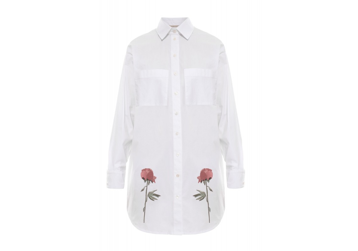 Embroidered white t-shirt Peony