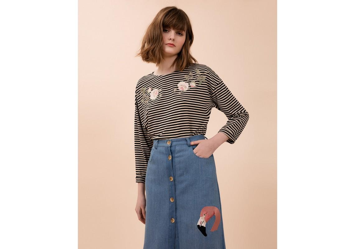 Embroidered Striped Sweatshirt