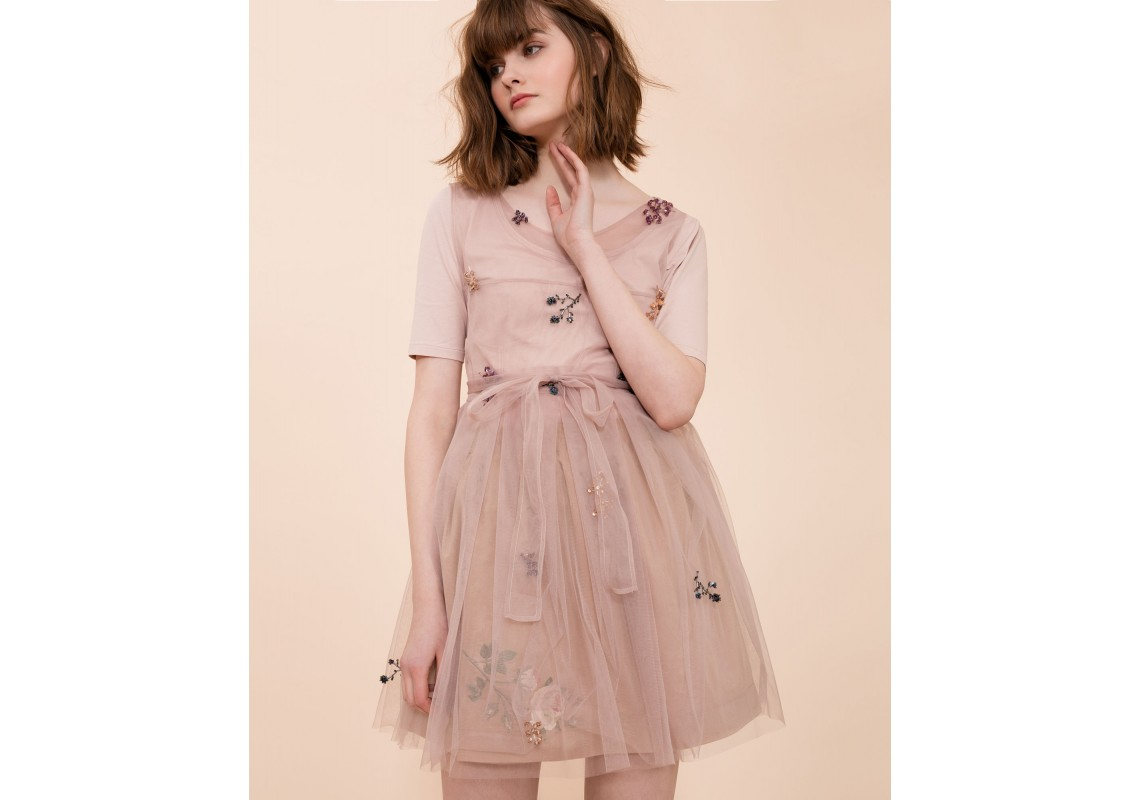 Hand Embroidered Peony Pink Dress